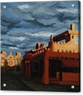 Los Farolitos,the Lanterns, Santa Fe, Nm Acrylic Print by Erin Fickert-Rowland