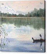 Lost Lagoon With Blue Heron Acrylic Print