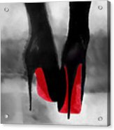 Louboutin At Midnight Black And White Acrylic Print