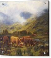 Louis Bosworth Hurt British 1856 - 1929 Highland Cattle Acrylic Print