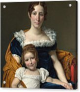 Louis David   Portrait Of The Comtesse Vilain Xiiii And Her Daughter Acrylic Print