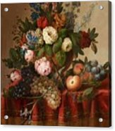 Louis Vidal, Still Life With Flowers And Fruit Acrylic Print