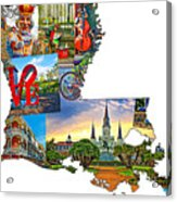 Louisiana Map - New Orleans Acrylic Print