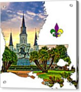 Louisiana Map - St Louis Cathedral Acrylic Print