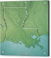 Louisiana State Usa 3d Render Topographic Map Border Acrylic Print