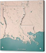 Louisiana State Usa 3d Render Topographic Map Neutral Border Acrylic Print