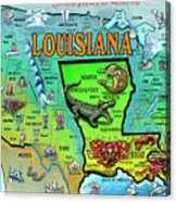 Louisiana Usa Cartoon Map Acrylic Print
