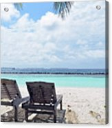 Lounge Chairs At The Beach In Maldives Acrylic Print