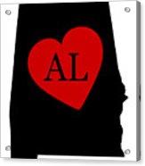 Love Alabama Black Acrylic Print
