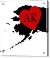 Love Alaska Black Acrylic Print