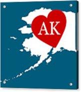 Love Alaska White Acrylic Print