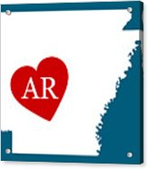 Love Arkansas White Acrylic Print