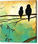 Love Birds By Madart Acrylic Print by Megan Duncanson