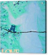 Love Birds In Blue Maternity Acrylic Print