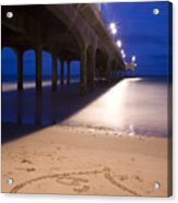 Love Heart In The Sand At Boscombe Pier Acrylic Print