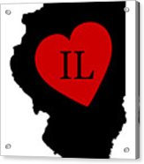 Love Illinois Black Acrylic Print