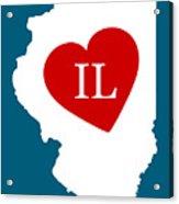 Love Illinois White Acrylic Print