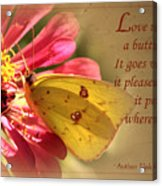 Love Is Like A Butterfly Acrylic Print