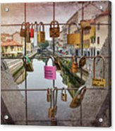 Love Lock Triangle At Naviglo Grande Milan Italy  Acrylic Print