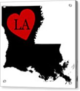 Love Louisiana Black Acrylic Print