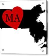 Love Massachusetts Black Acrylic Print