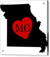 Love Missouri Black Acrylic Print