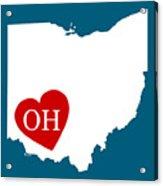 Love Ohio White Acrylic Print