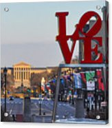 Love Park And The Parkway In Philadelphia Acrylic Print