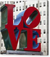 Love Park In Center City - Philadelphia Acrylic Print by Brendan Reals