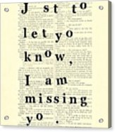 Love Poem, Valentine Gift  Acrylic Print