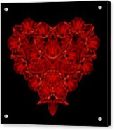 Love Red Floral Heart Acrylic Print