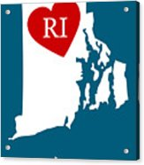 Love Rhode Island White Acrylic Print