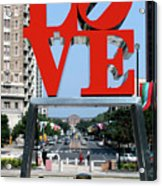 Love Sculpture In Philadelphia Acrylic Print by Carl Purcell