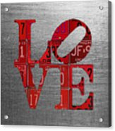 Love Sign Philadelphia Recycled Red Vintage License Plates On Aluminum Sheet Acrylic Print