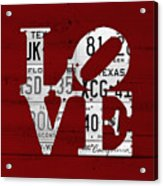 Love Sign Vintage License Plates On Red Barn Wood Acrylic Print