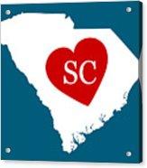 Love South Carolina White Acrylic Print