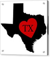 Love Texas Black Acrylic Print