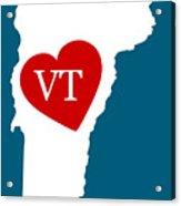 Love Vermont White Acrylic Print