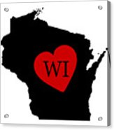 Love Wisconsin Black Acrylic Print