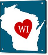 Love Wisconsin White Acrylic Print