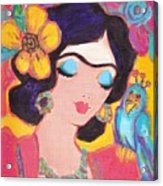 Lovely Frida And Little Blue Parrot Acrylic Print