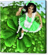 Lovely Irish Girl With A Glass Of Green Beer Acrylic Print