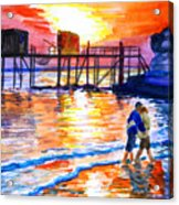Lovers On Strand Acrylic Print