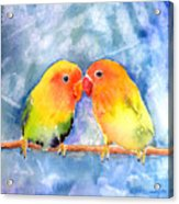 Lovey Dovey Lovebirds Acrylic Print by Arline Wagner