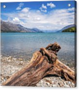 Low Angle View From The Rocky Dart River Bank At Kinloch, Nz Acrylic Print
