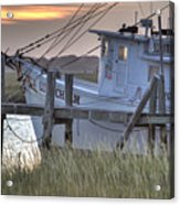 Lowcountry Shrimp Boat Sunset Acrylic Print