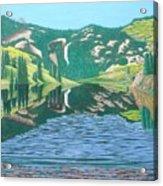 Lower Cataract Lake And Cataract Creek Falls Acrylic Print