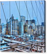 Lower East Side At Dusk From The Brooklyn Bridge Acrylic Print