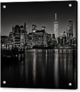 Lower Manhattan From The Brooklyn Piers Acrylic Print by Dick Wood