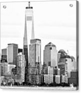 Lower Manhattan In Black And White Acrylic Print
